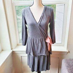 Anthropologie Eloise Grey Wrap Dress | S